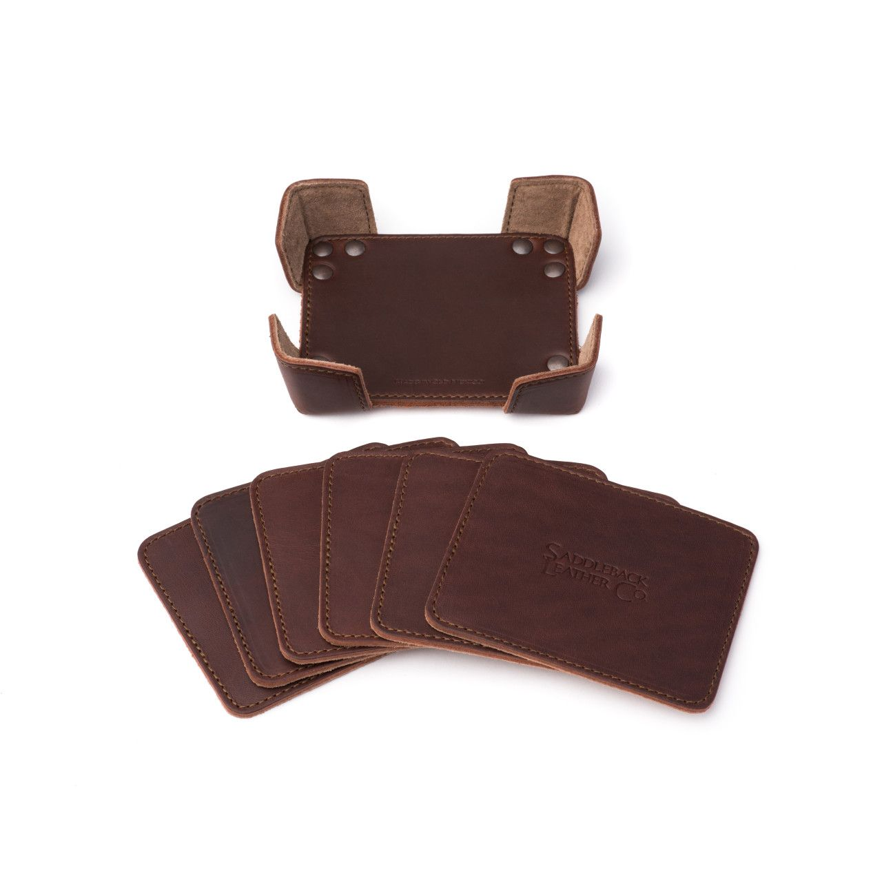 leather coaster set in chestnut leather