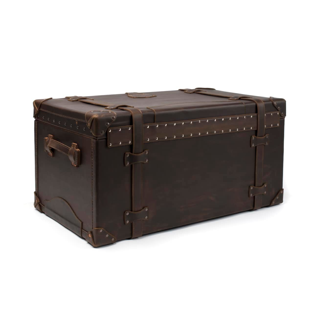 Leather Trunk in color Dark Coffee Brown shown from the Back at an Angle