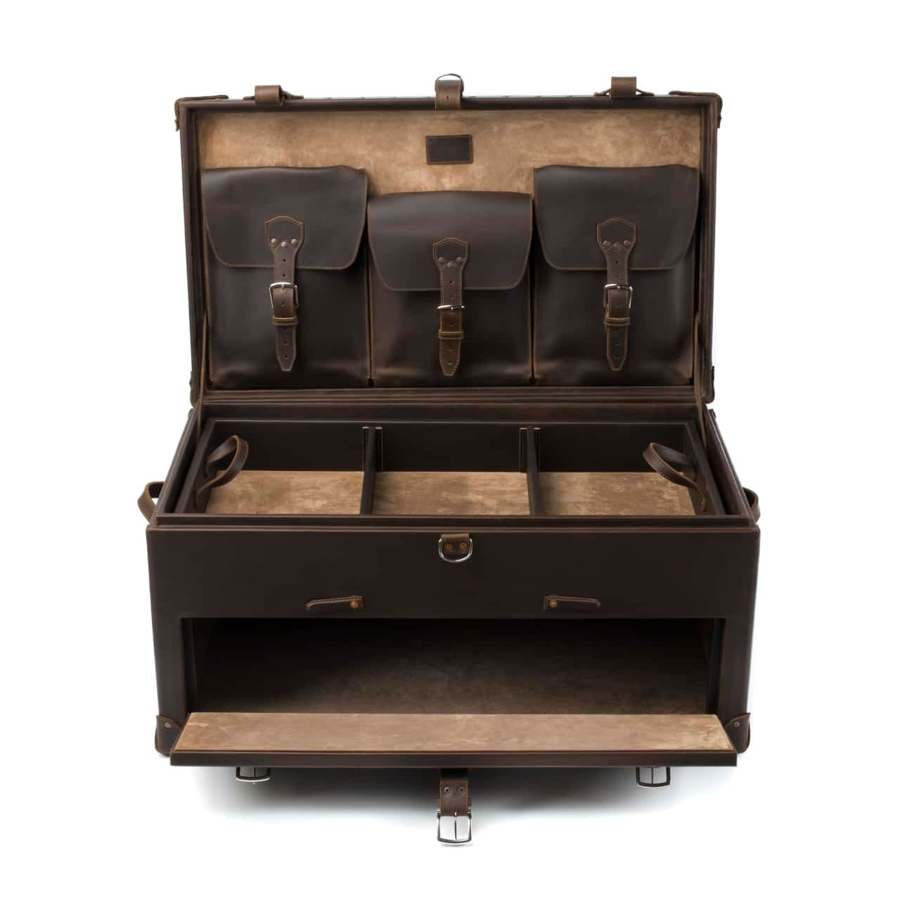 Leather Trunk in color Dark Coffee Brown shown from the Front with Top and Bottom Compartments Open and Empty