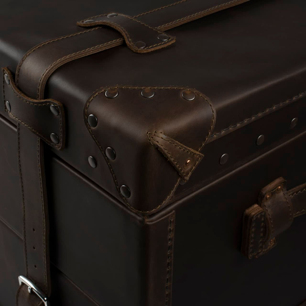 Leather Trunk in color Dark Coffee Brown Zoomed in on the Corner Covers