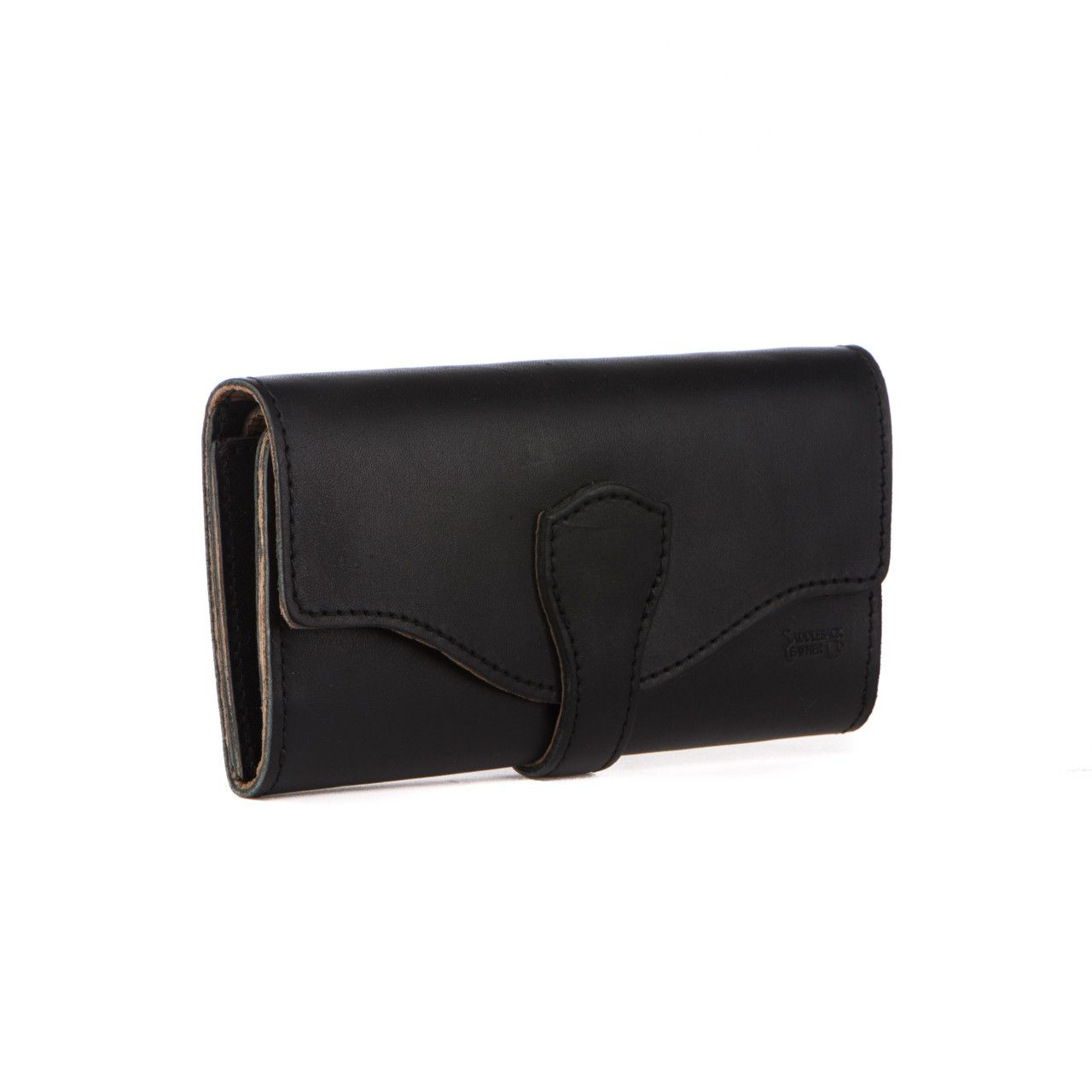 long trifold leather wallet in black leather