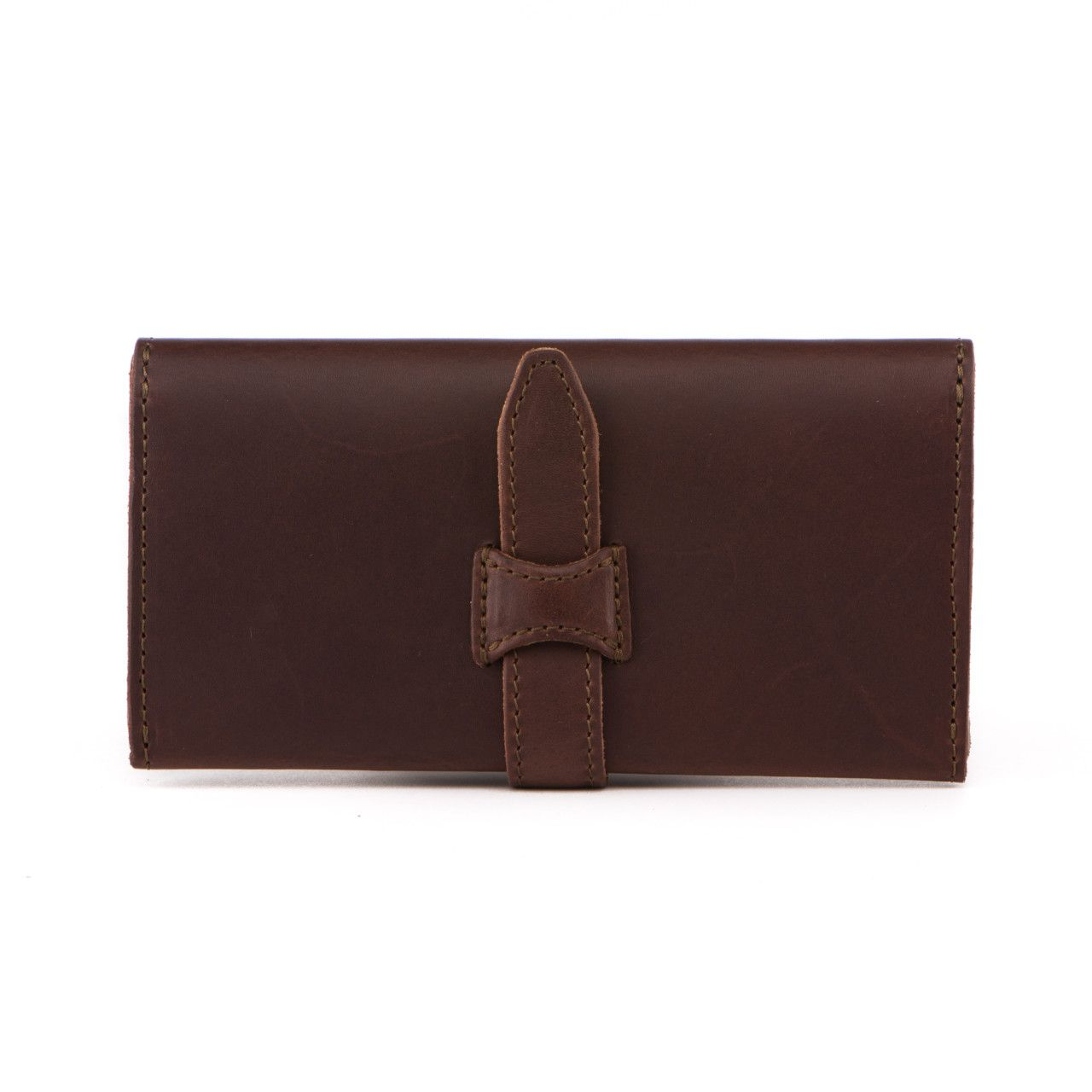 long trifold leather wallet in chestnut leather