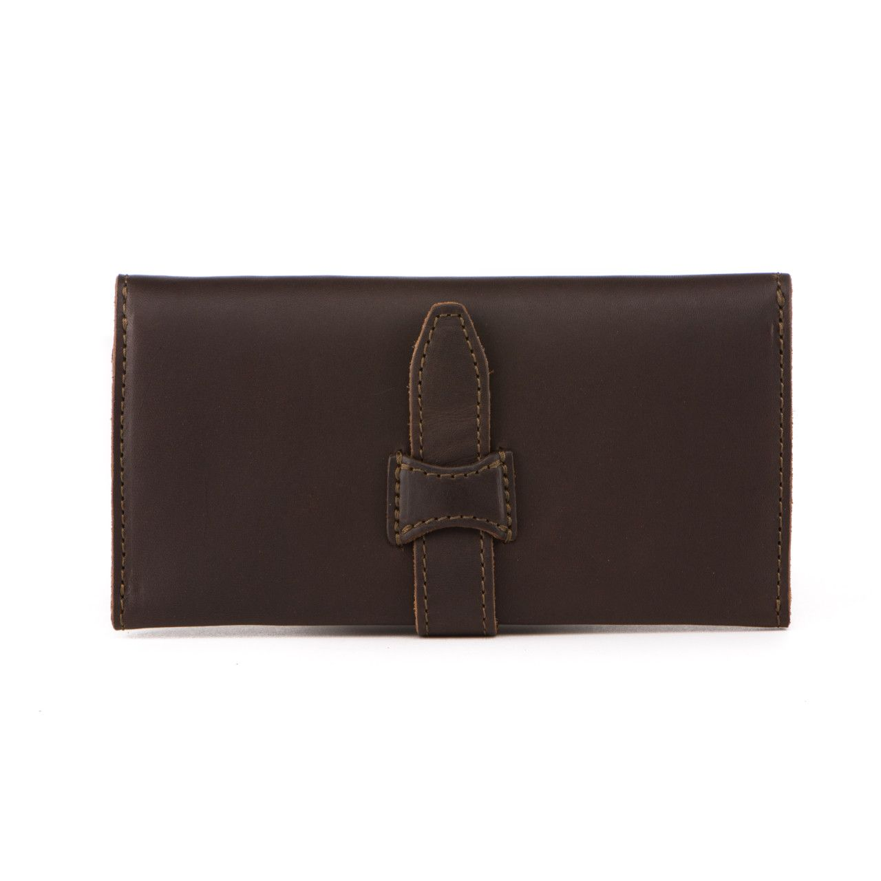 long trifold leather wallet in dark coffee brown leather
