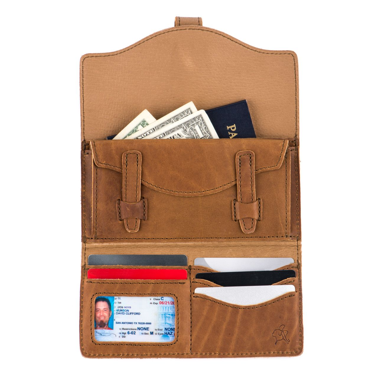 long trifold leather wallet in tobacco leather with full content: money, passport, card, driver's license