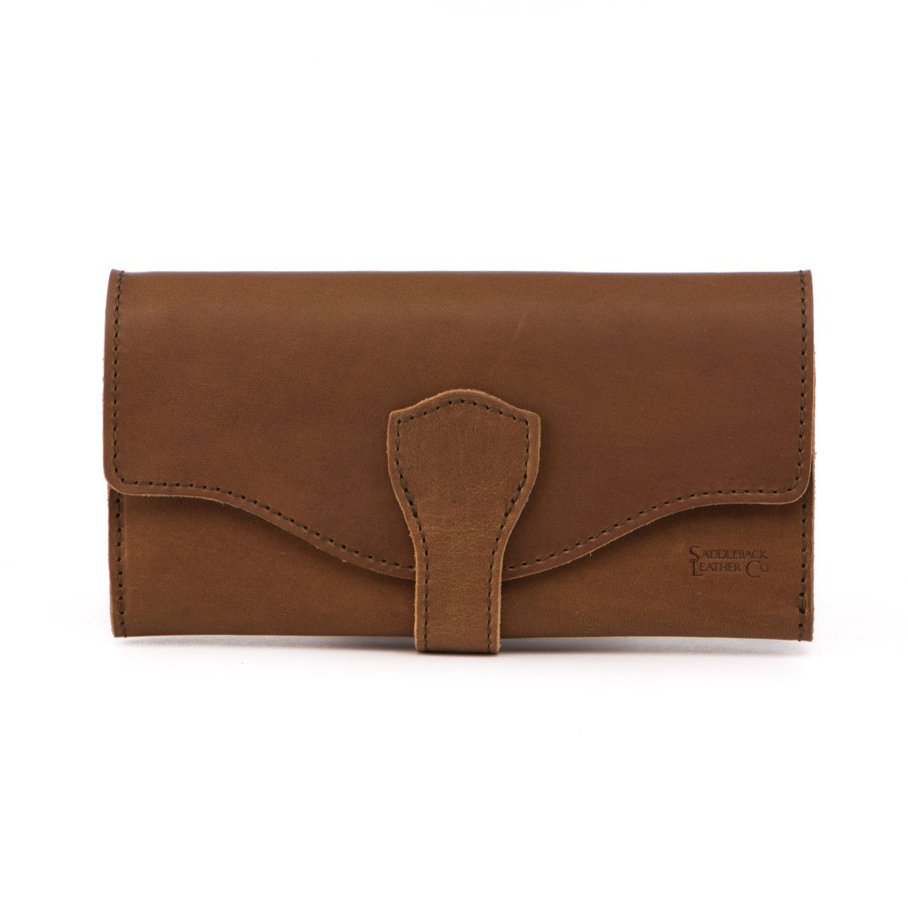 long trifold leather wallet in tobacco leather
