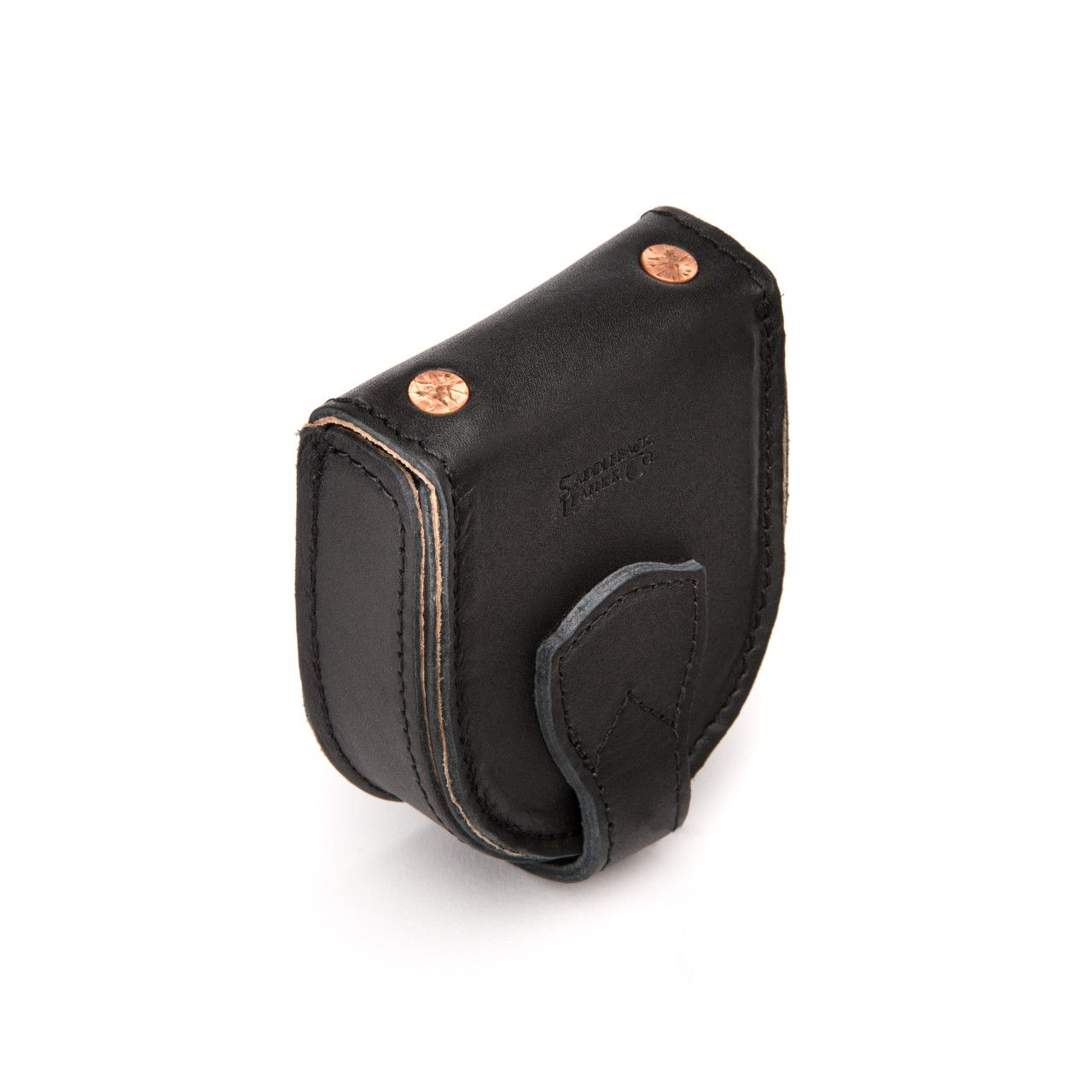leather coin purse in black leather