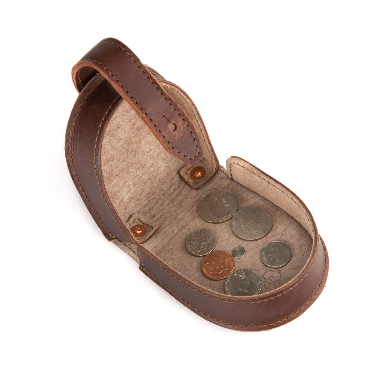 leather coin purse in chestnut leather with fine coins