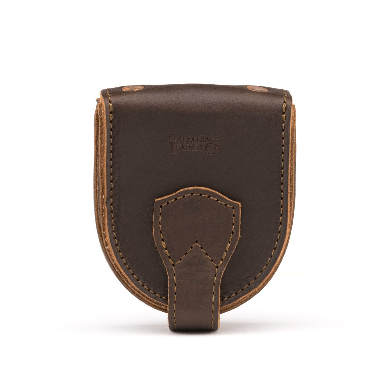 leather coin purse in dark coffee brown leather