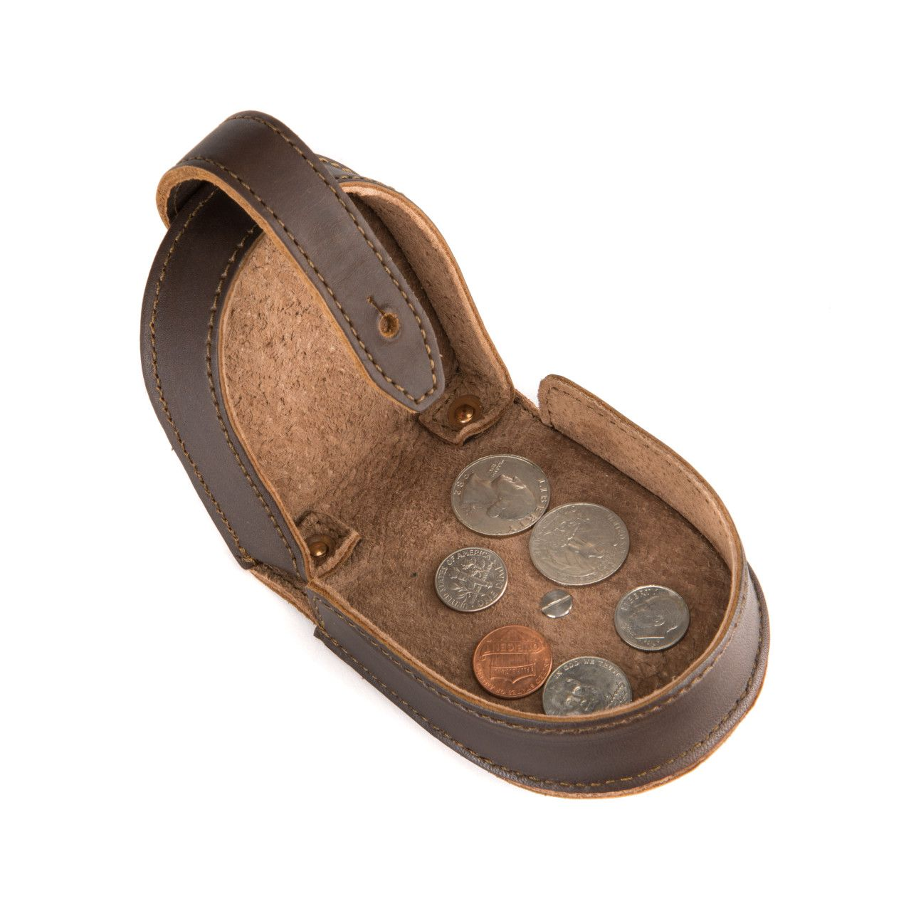 leather coin purse in dark coffee brown leather with fine coins