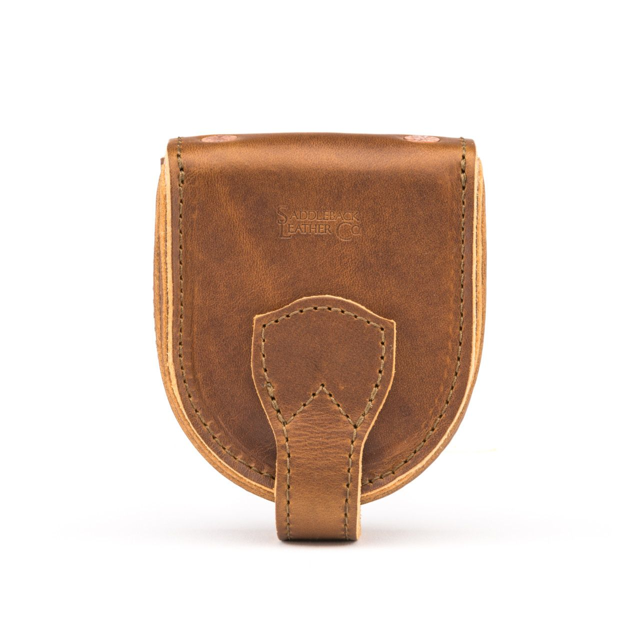 leather coin purse in tobacco leather