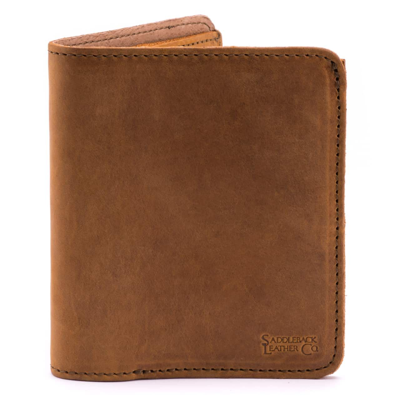 large leather bifold wallet large in tobacco leather