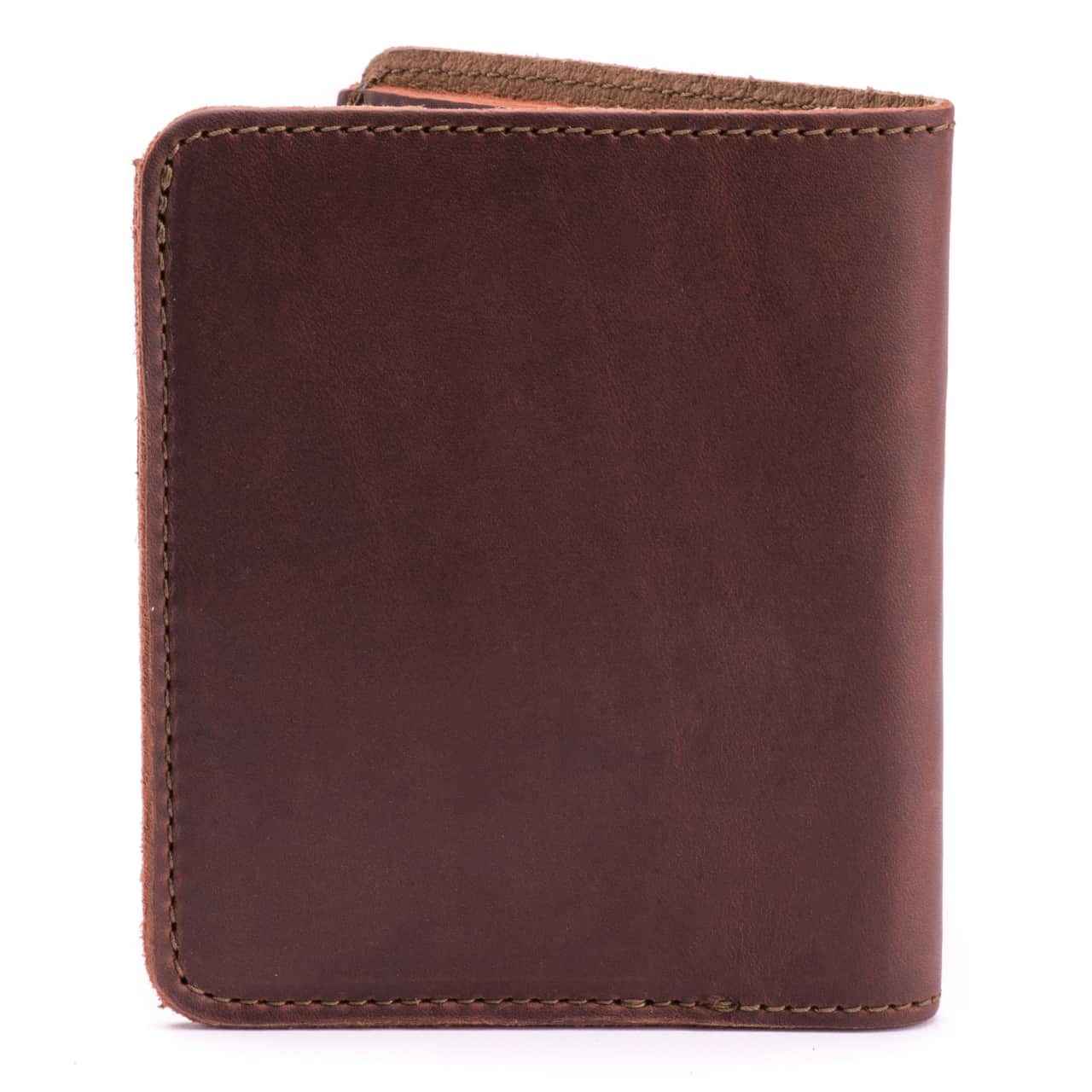 large leather bifold wallet large in chestnut leather