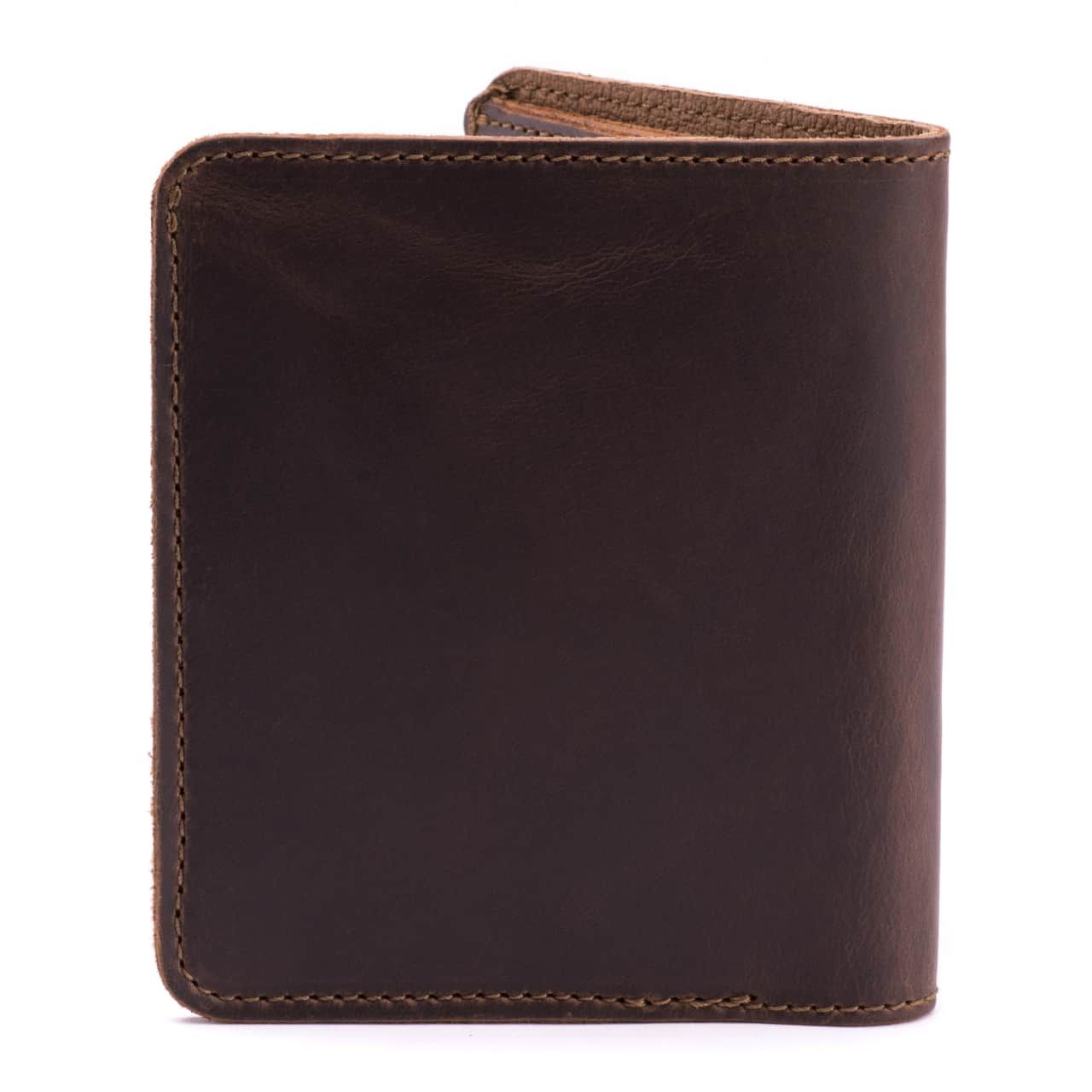 large leather bifold wallet large in dark coffee brown leather