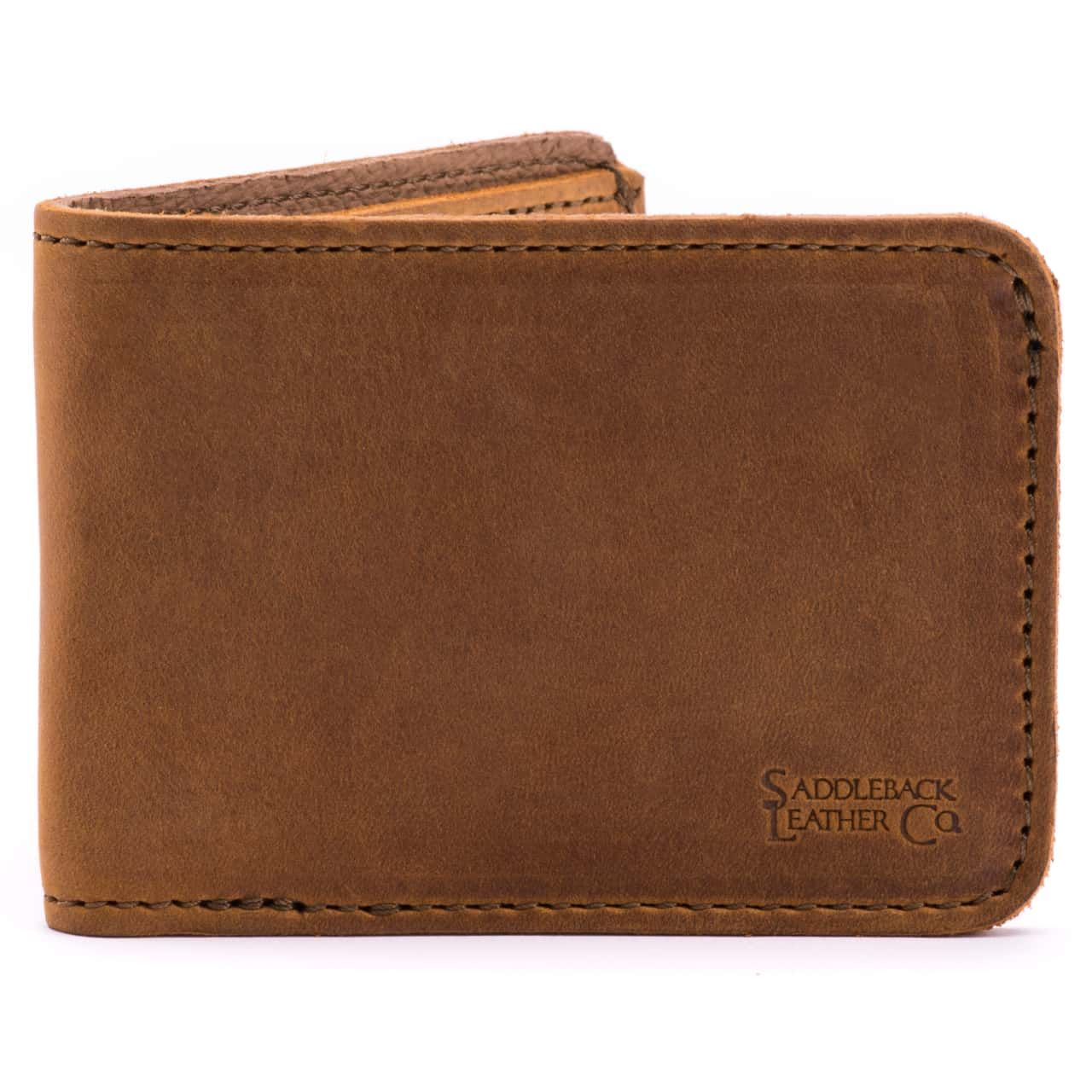 small leather bifold wallet small in tobacco leather