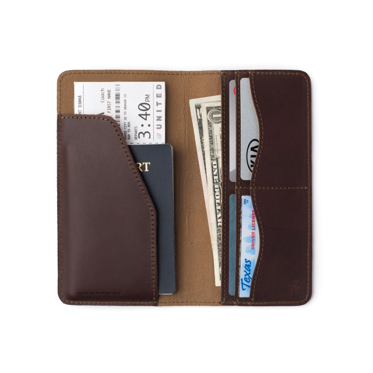 long leather passport wallet medium in chestnut leather with passport, cash, check cards, business cards