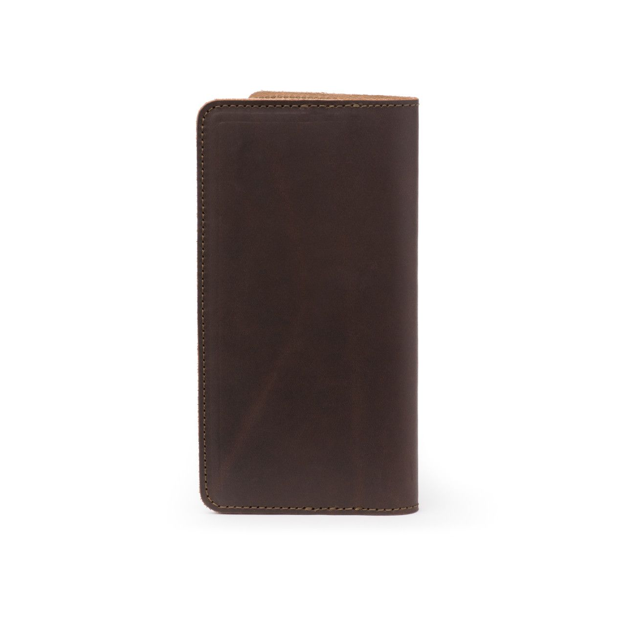 long leather passport wallet medium in dark coffee brown leather