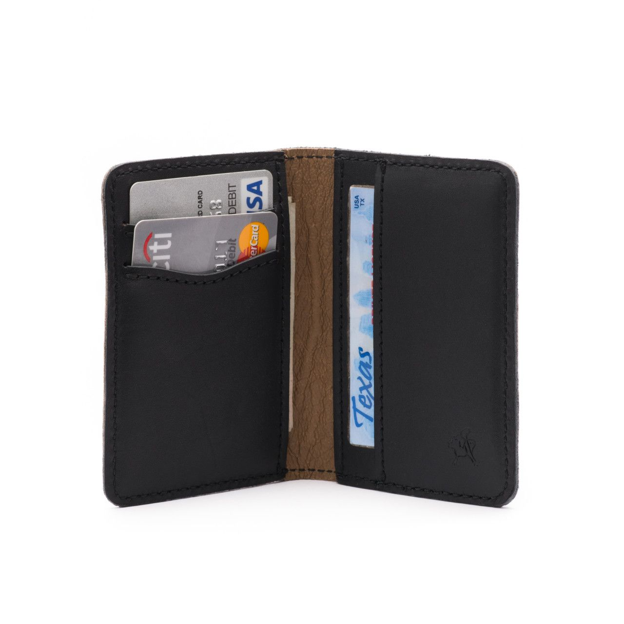 front pocket leather bifold wallet medium in black leather