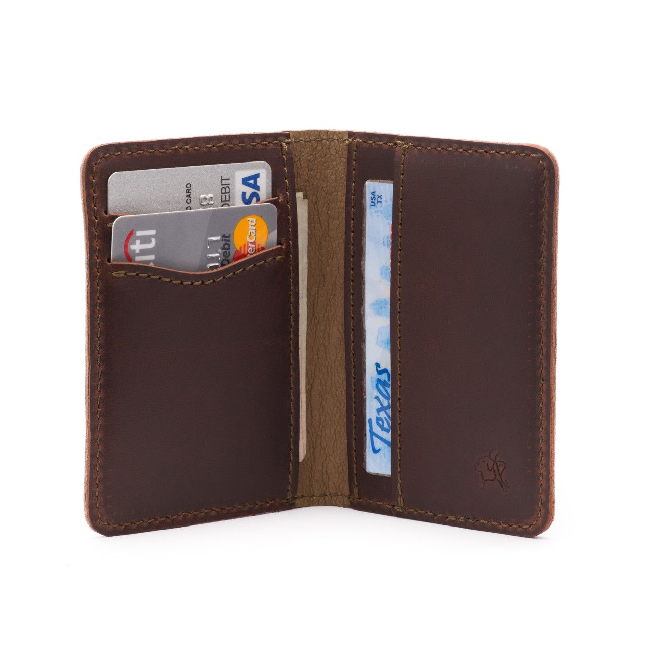 front pocket leather bifold wallet medium in chestnut leather