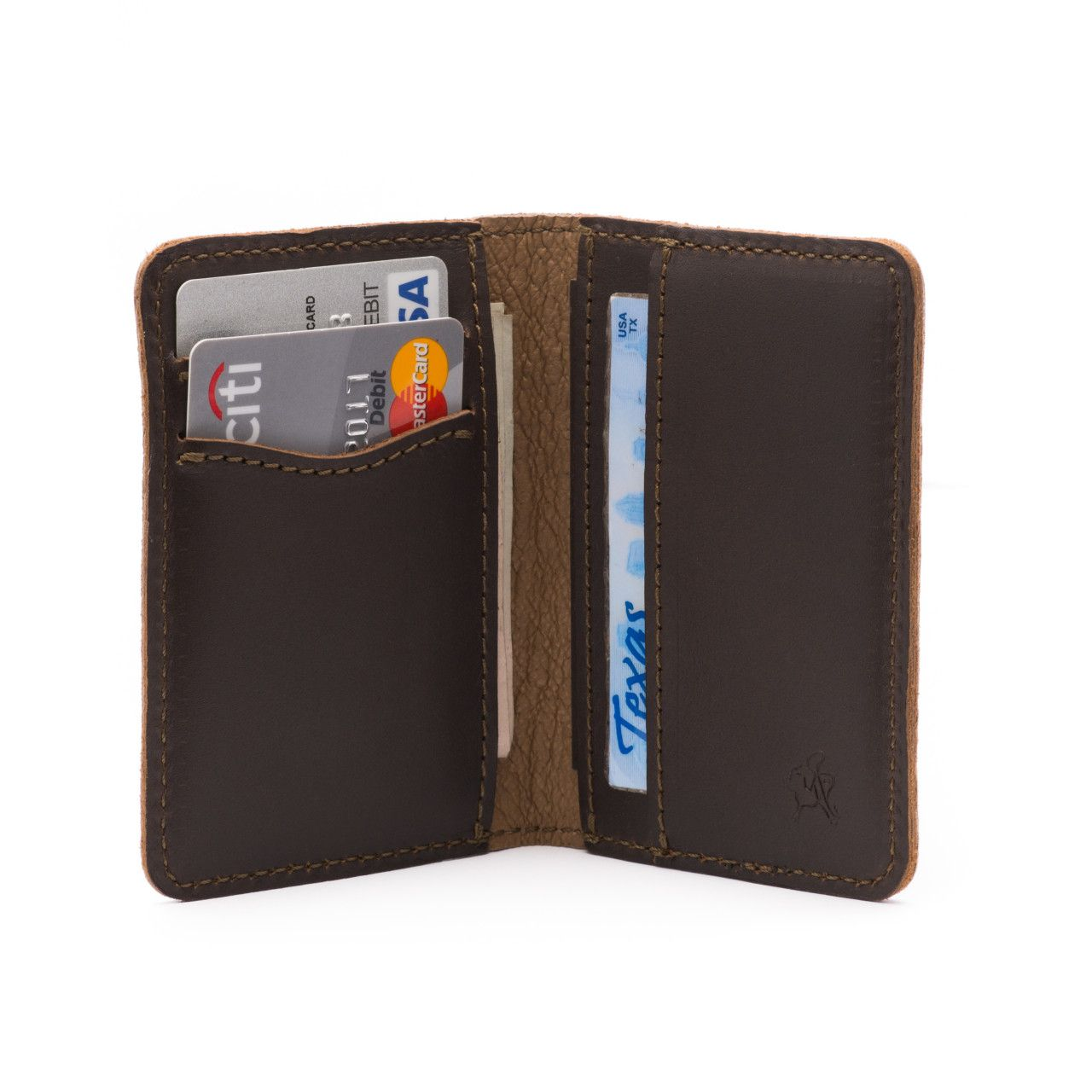 front pocket leather bifold wallet medium in dark coffee brown leather