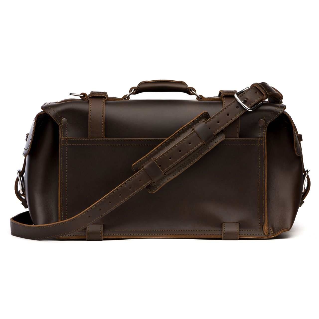 side pocket leather duffel bag large in dark coffee brown leather