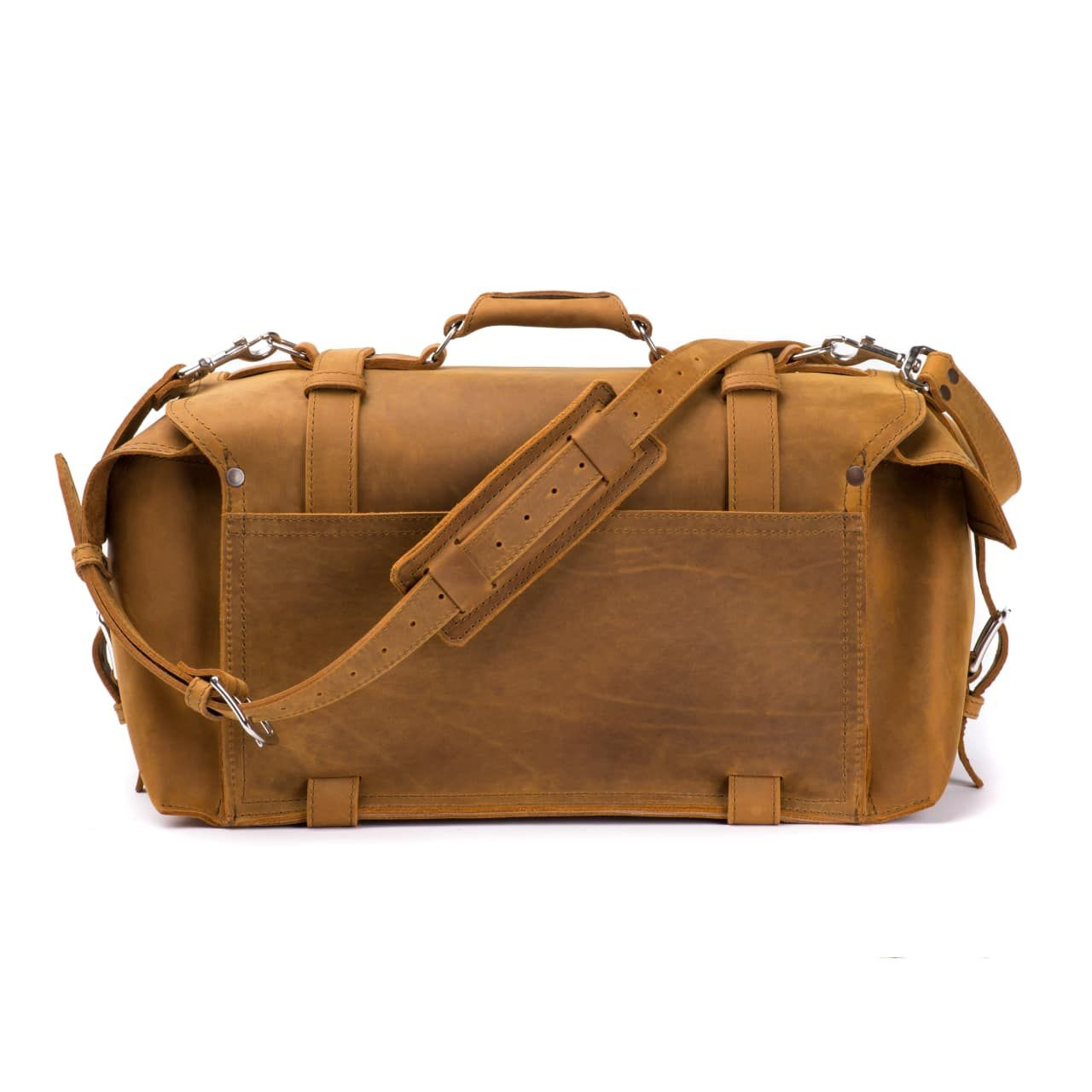 side pocket leather duffel bag large in tobacco leather