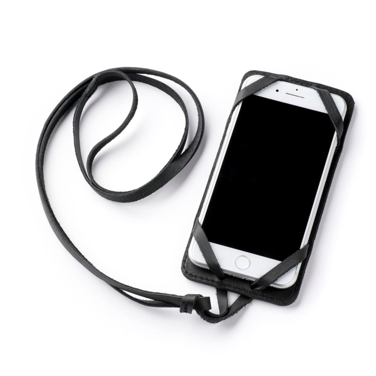 Leather iPhone 8+ Case in Color Black with the Lanyard attached front angle with phone in the case