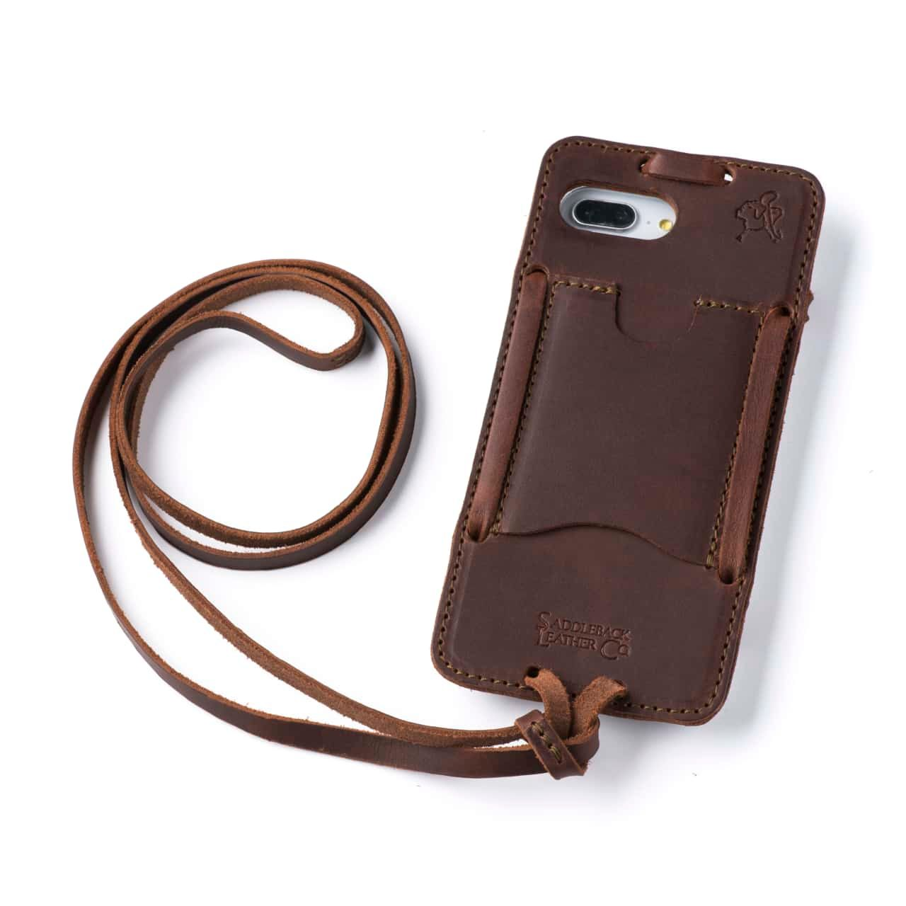 Leather iPhone 8+ Case in Color Chestnut with the Lanyard attached back angle showing empty card slot