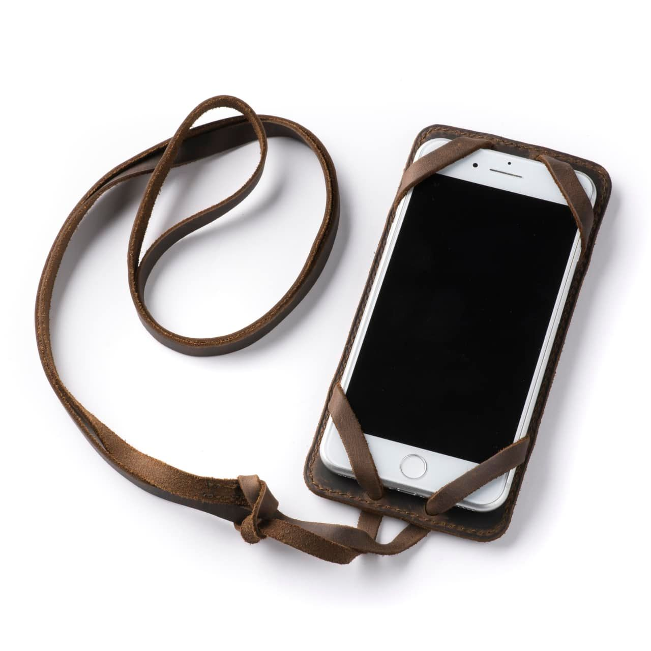 Leather iPhone 8+ Case in Color Dark Coffee Brown with the Lanyard attached front angle with phone in the case