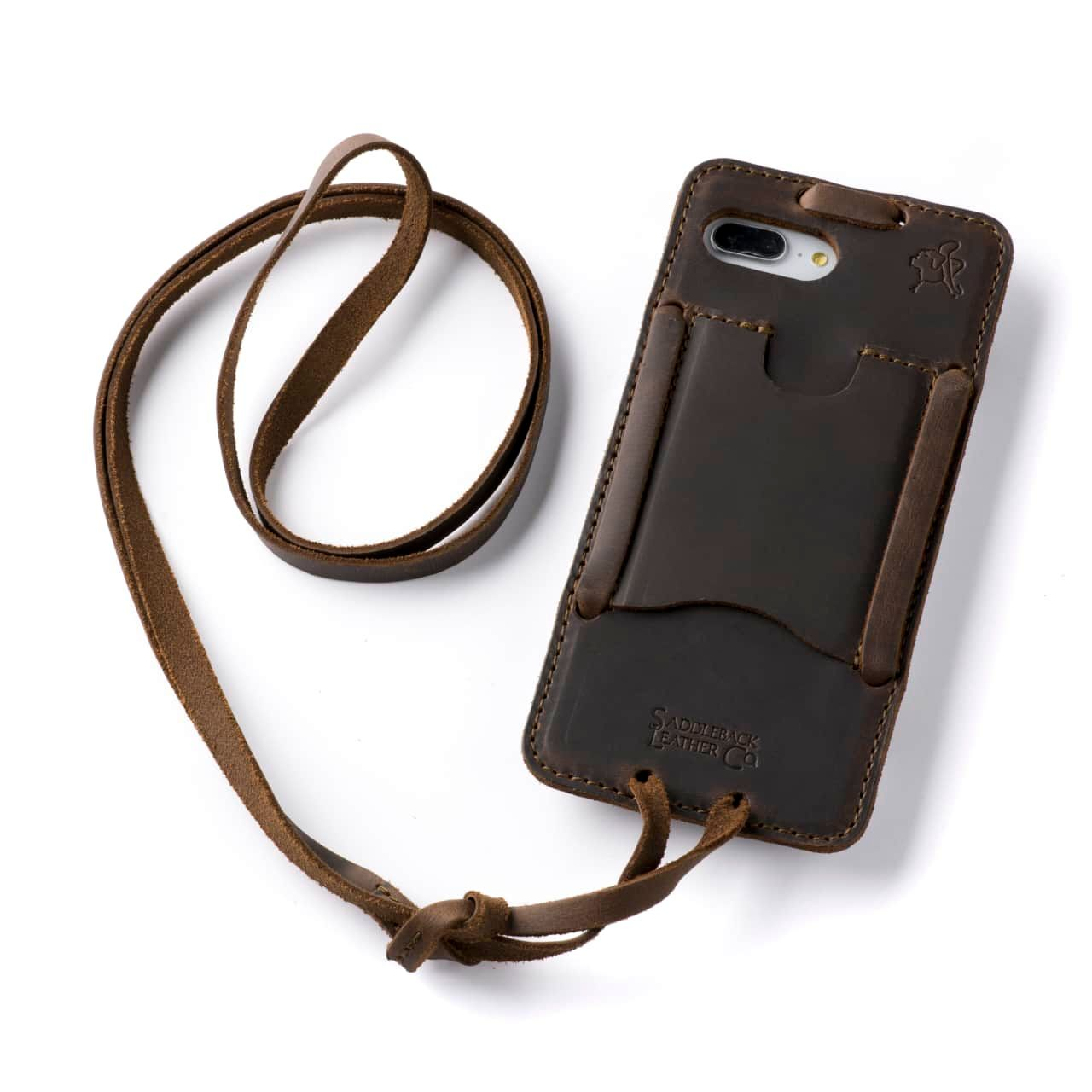 Leather iPhone 8+ Case in Color Dark Coffee Brown with the Lanyard attached back angle showing empty card slot