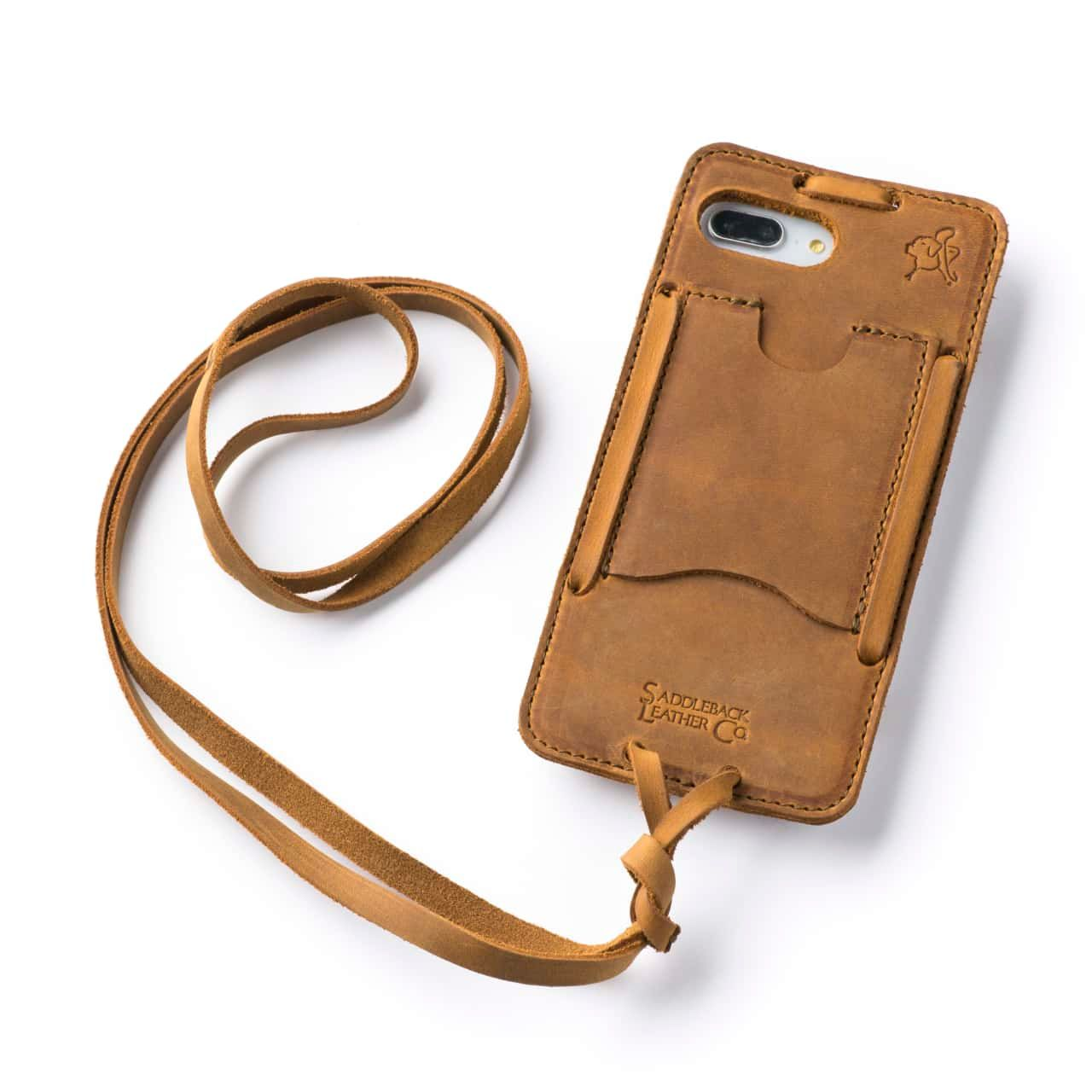 Leather iPhone 8+ Case in Color Tobacco with the Lanyard attached back angle showing empty card slot