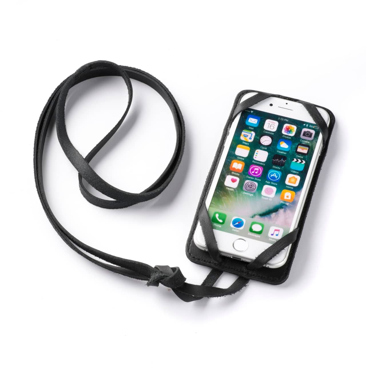 Leather iPhone 8 Case in Color Black with the Lanyard attached front angle with phone in the case