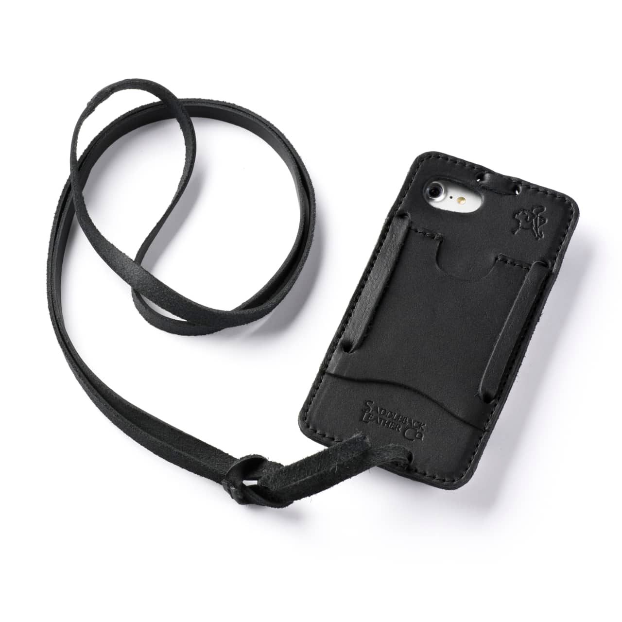 Leather iPhone 8 Case in Color Black with the Lanyard attached back angle showing empty card slot