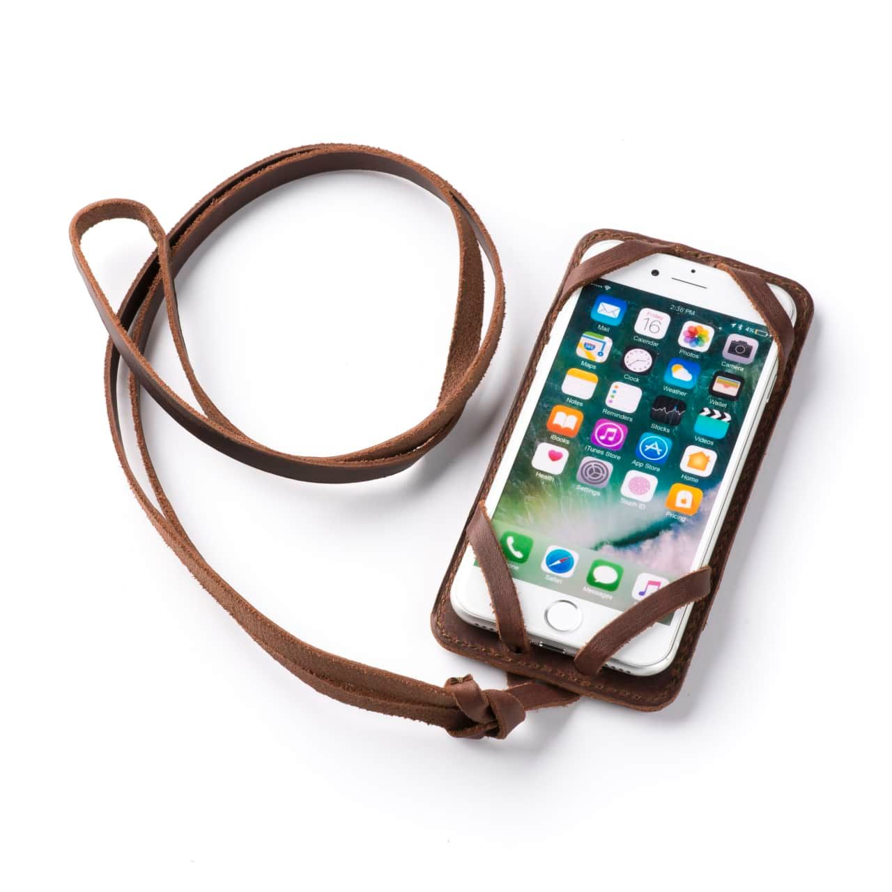 Leather iPhone 8 Case in Color Chestnut with the Lanyard attached front angle with phone in the case