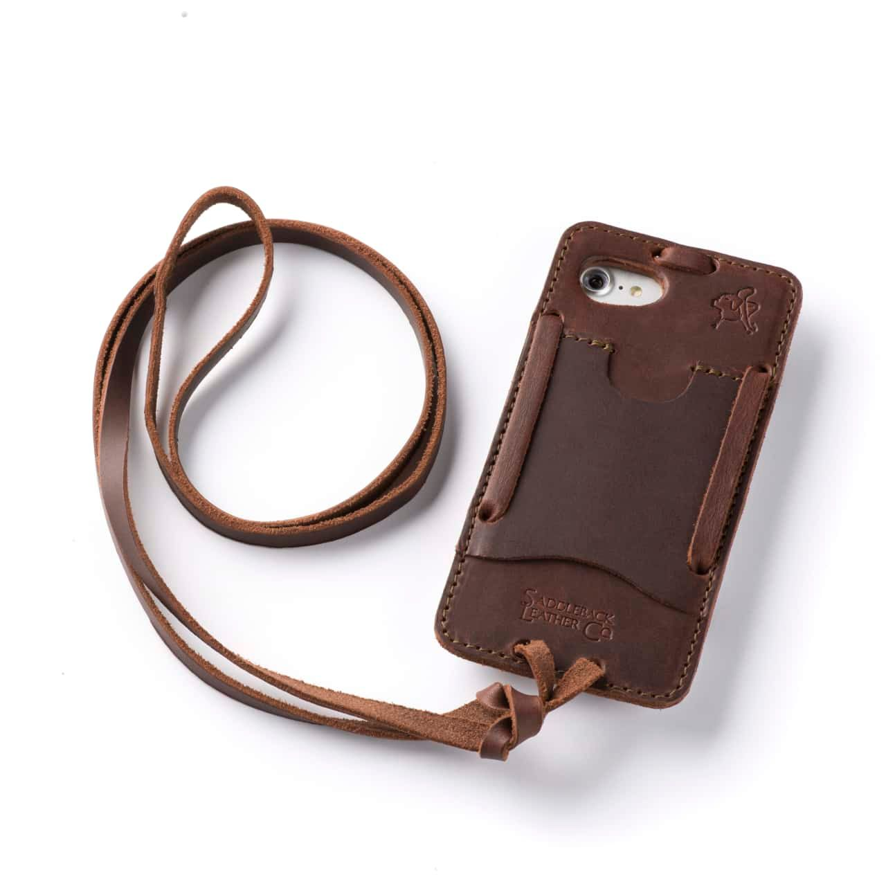 Leather iPhone 8 Case in Color Chestnut with the Lanyard attached back angle showing empty card slot