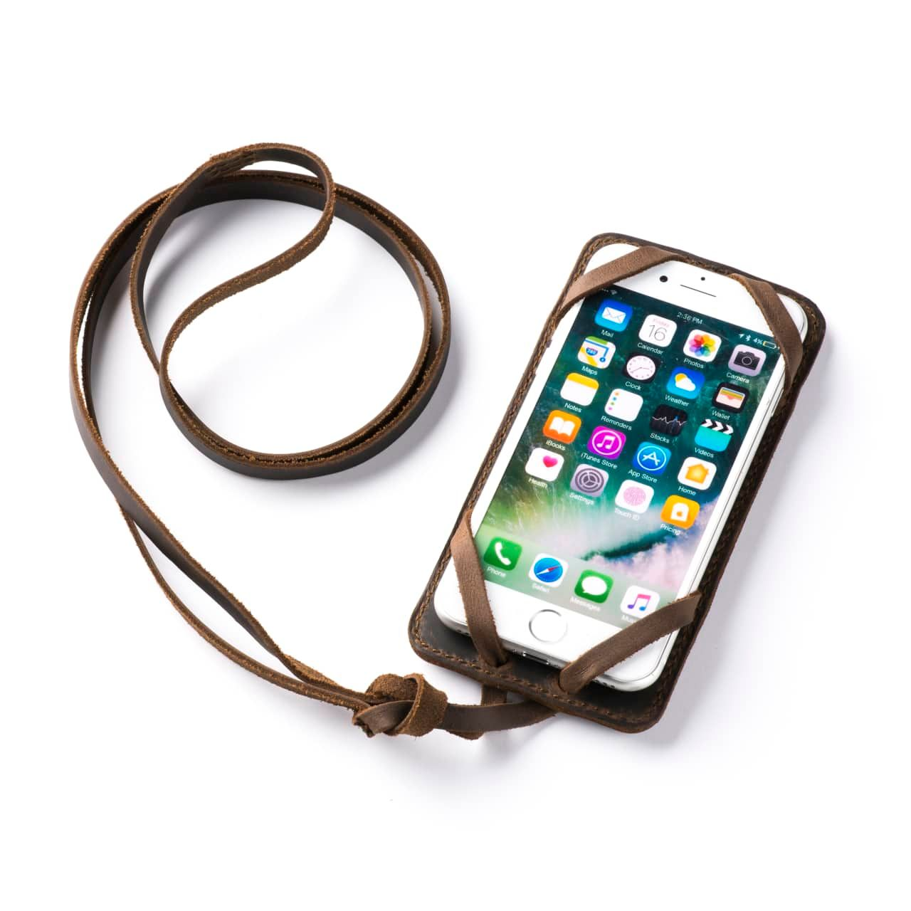 Leather iPhone 8 Case in Color Dark Coffee Brown with the Lanyard attached front angle with phone in the case