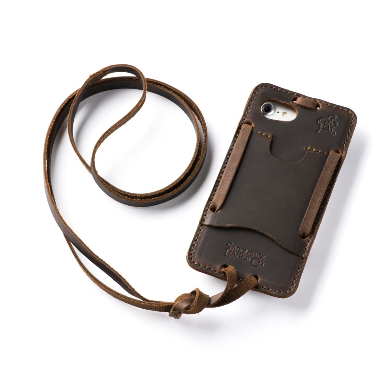 Leather iPhone 8 Case in Color Dark Coffee Brown with the Lanyard attached back angle showing empty card slot