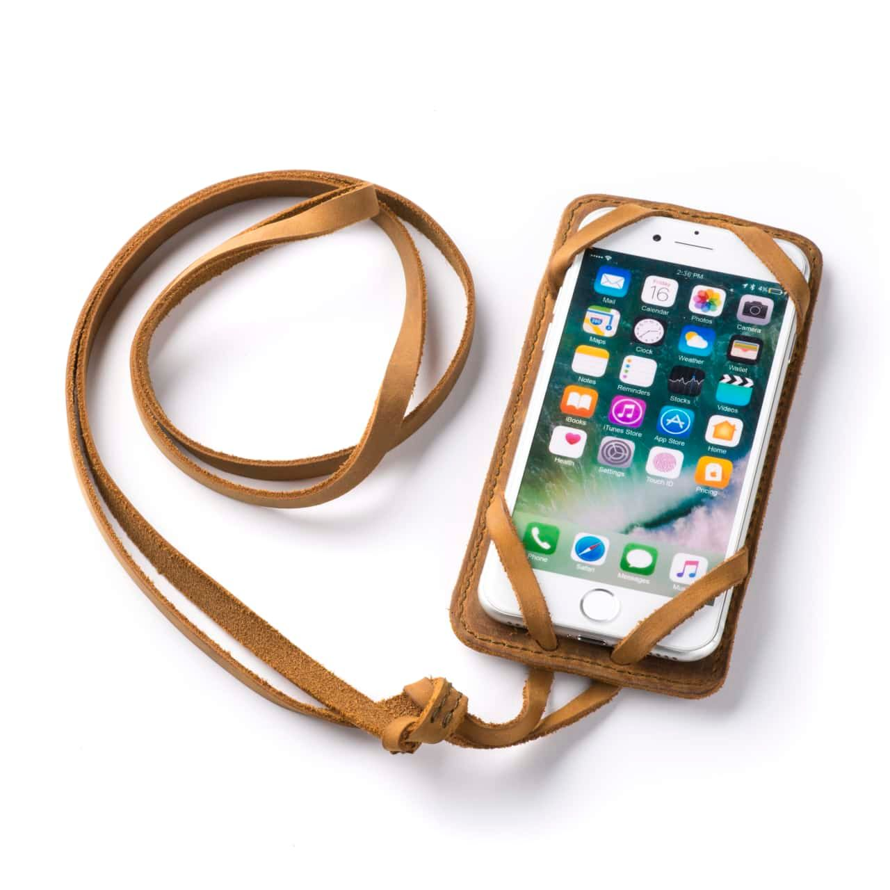 Leather iPhone 8 Case in Color Tobacco with the Lanyard attached front angle with phone in the case