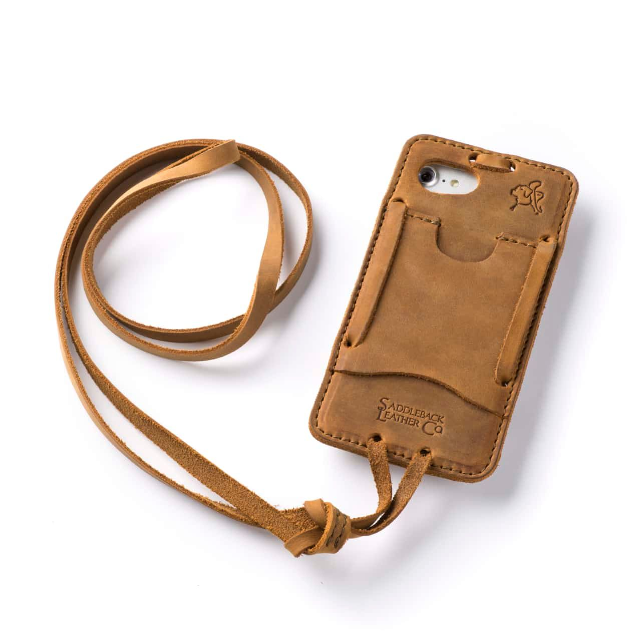 Leather iPhone 8 Case in Color Tobacco with the Lanyard attached back angle showing empty card slot