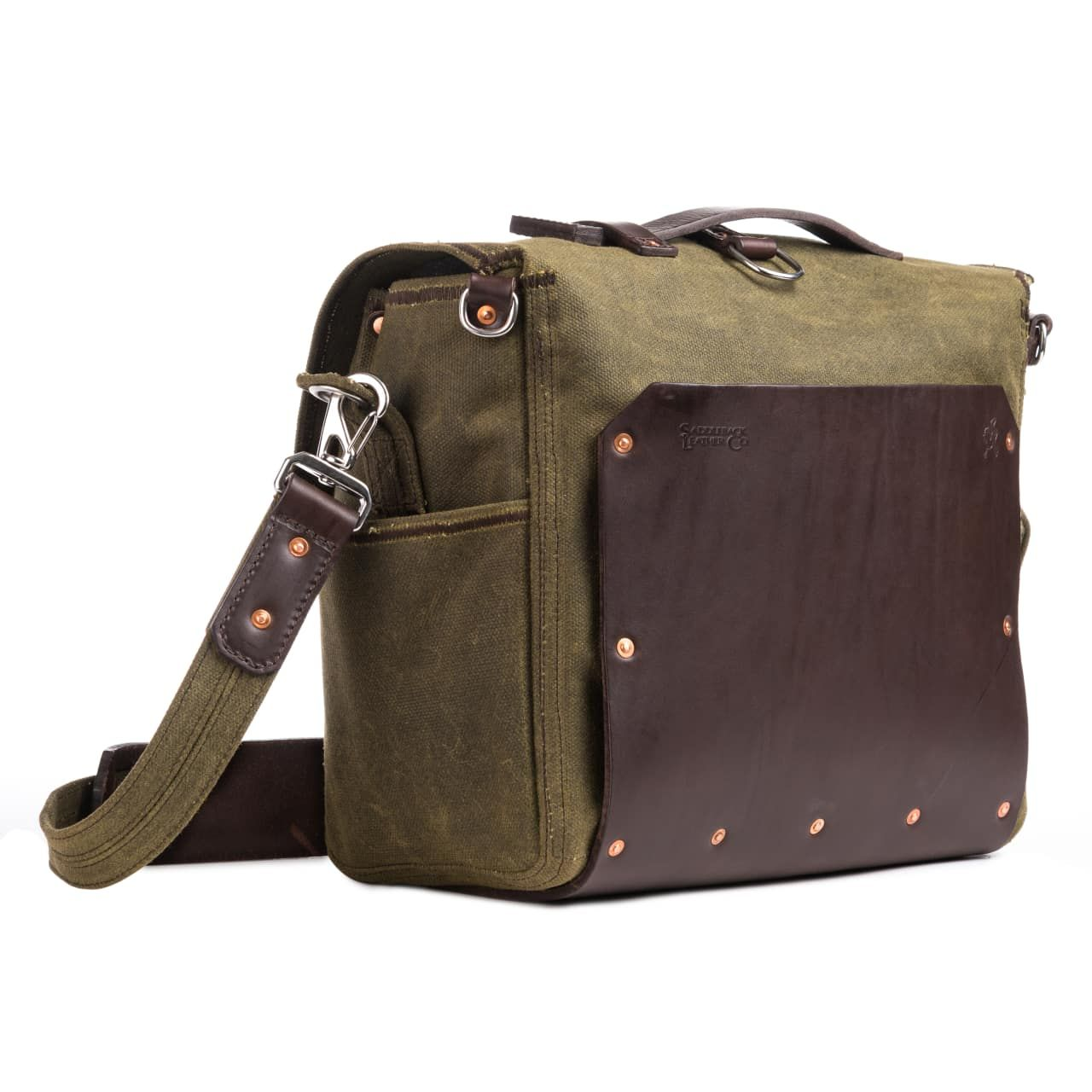large waxed canvas gear bag in moss green canvas
