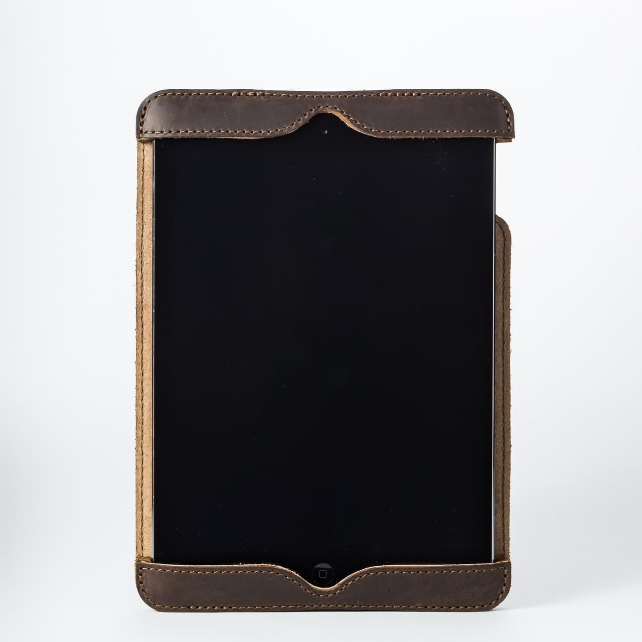 Simple iPad Case in color Dark Coffee Brown front with an iPad
