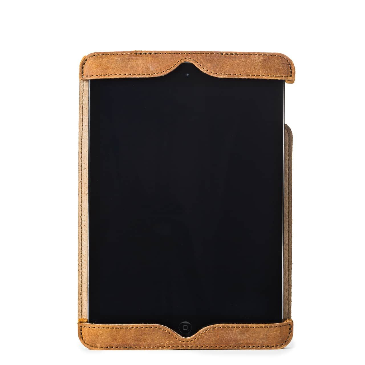 Simple iPad Case in color Tobacco from with front with an iPad
