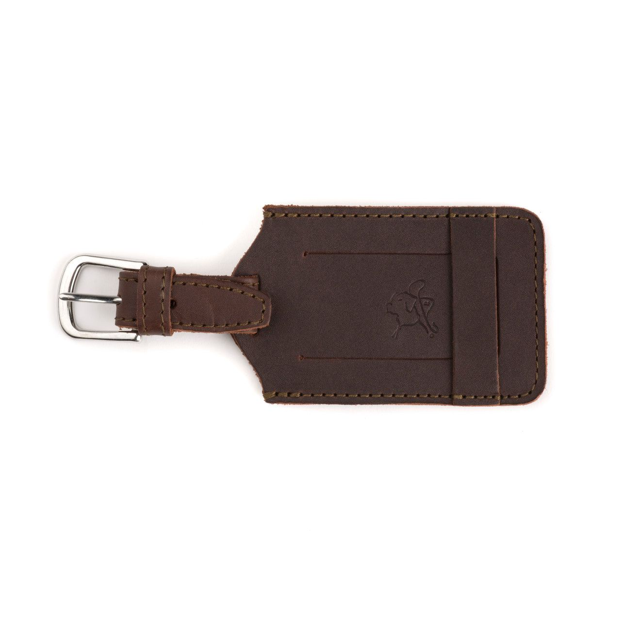 leather luggage tag in chestnut leather