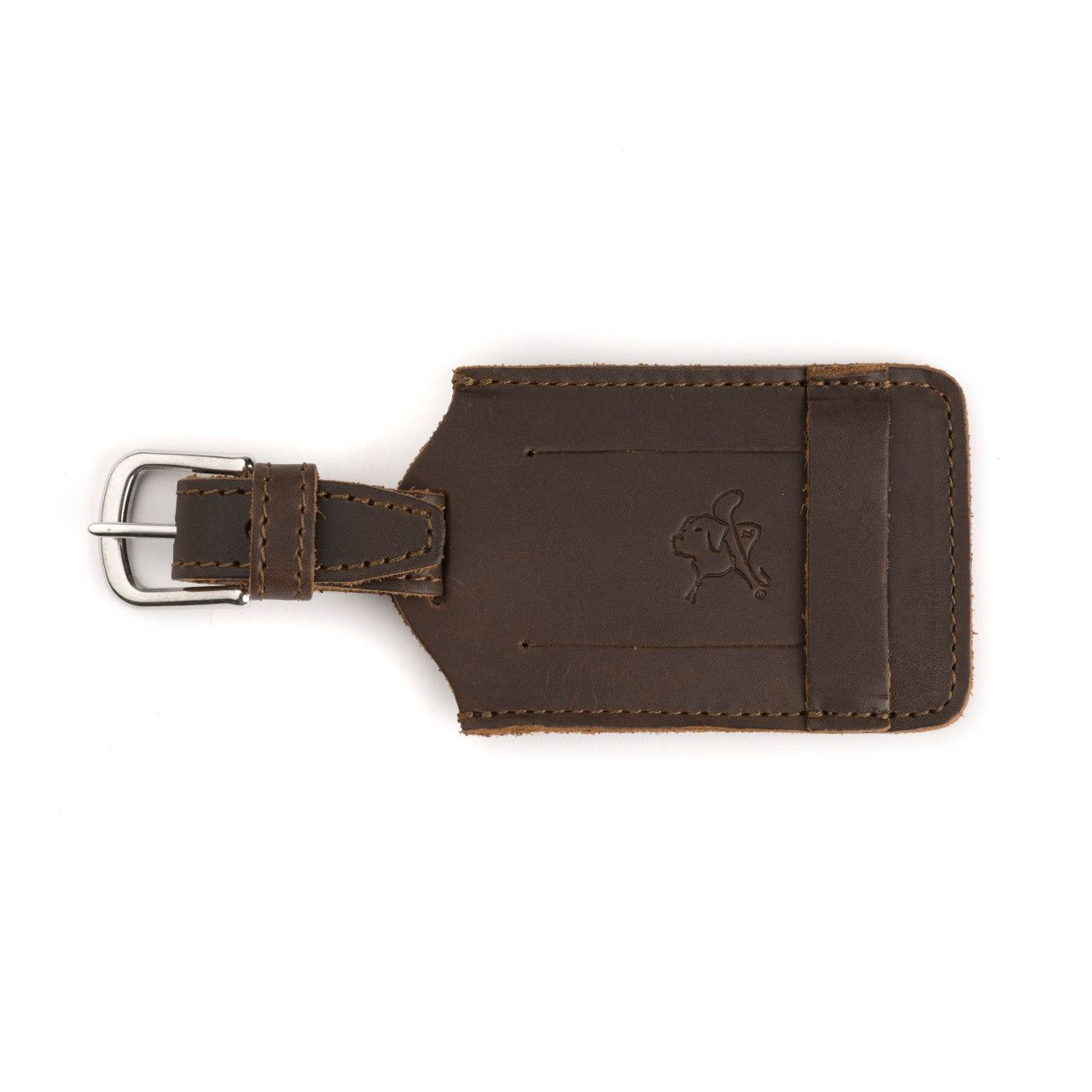 leather luggage tag in dark coffee brown leather