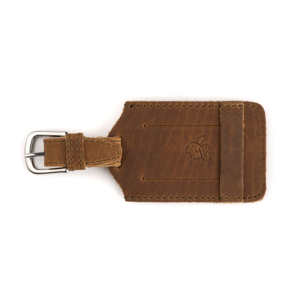 leather luggage tag in tobacco leather