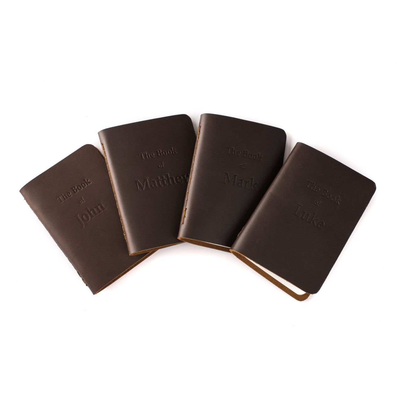 leather bound four gospels in dark coffee brown leather