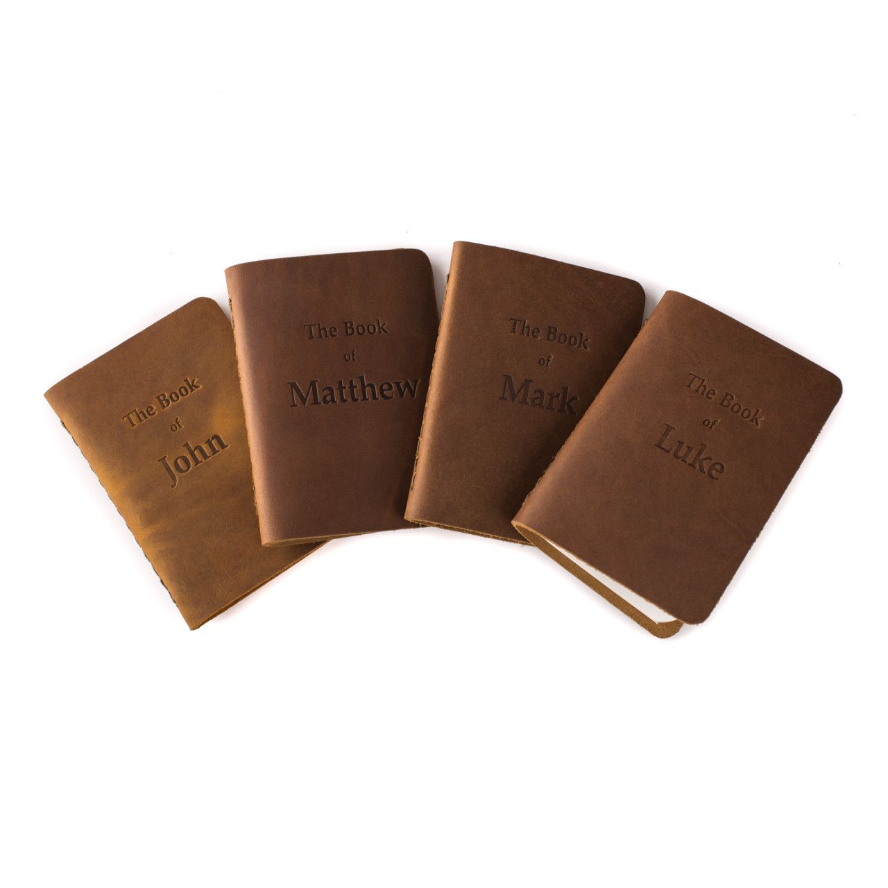 leather bound four gospels in tobacco leather
