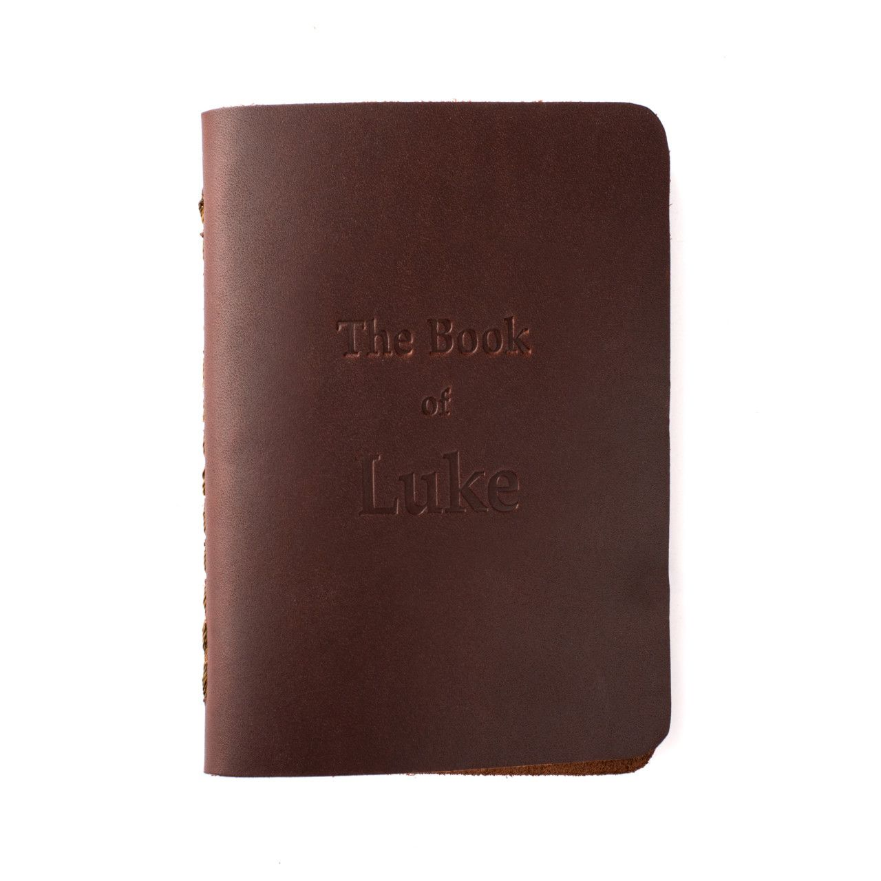 leather book of luke in chestnut leather