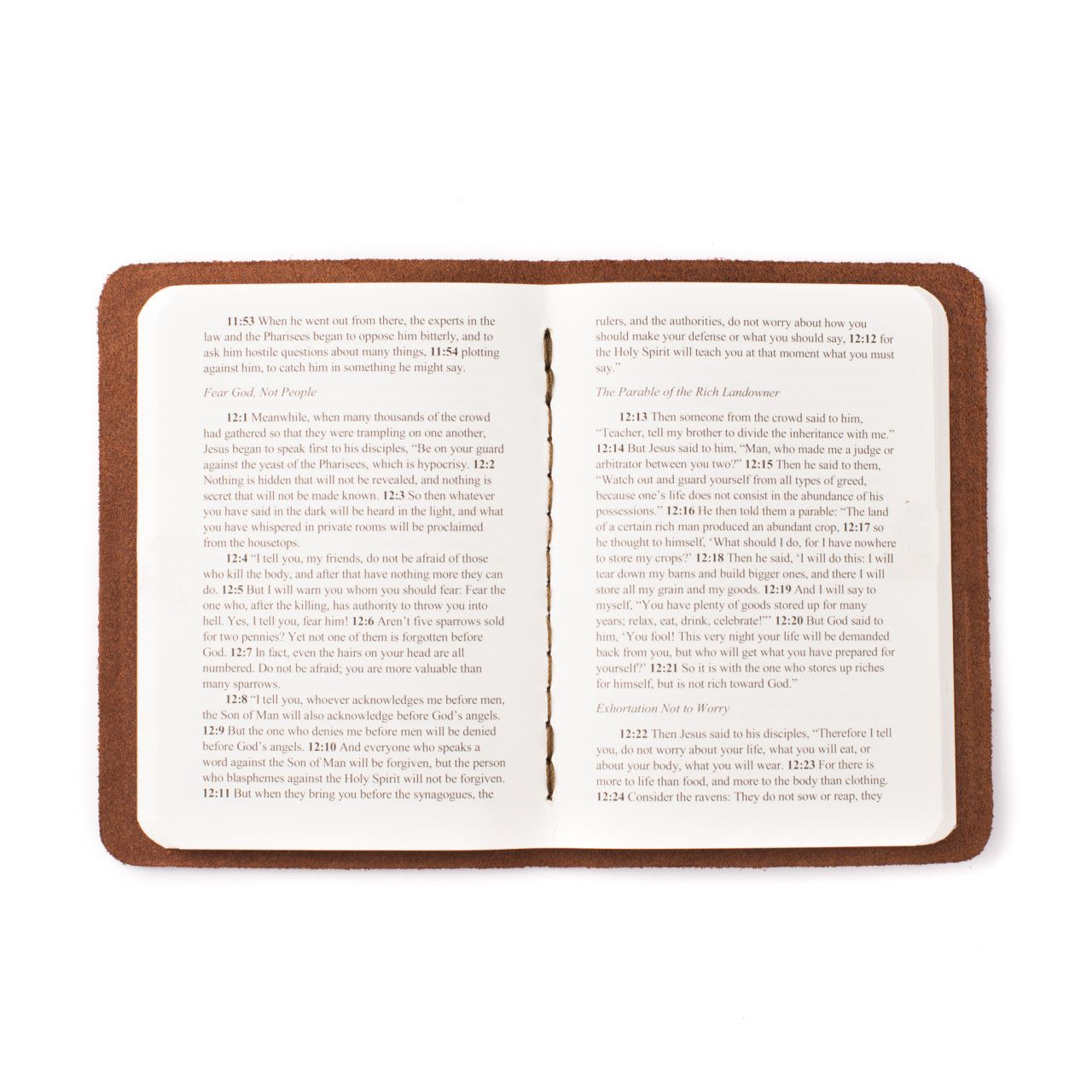 leather book of luke in chestnut leather with the gospel