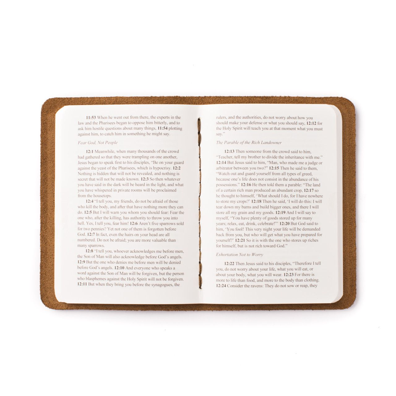 leather book of luke in dark coffee brown leather with the gospel