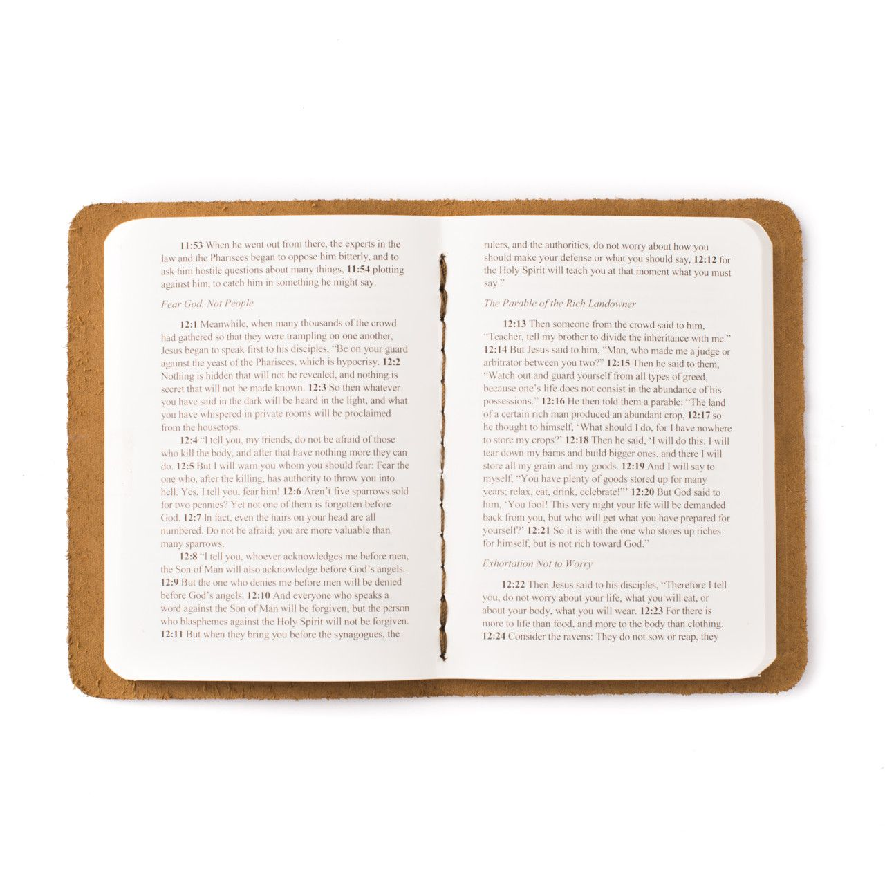 leather book of luke in tobacco leather with the gospel